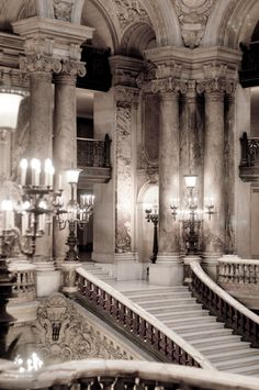 Paris Photography - Opera Garnier, Ornate, Sepia Architectural Photograph, French Chandeliers Wall Decor