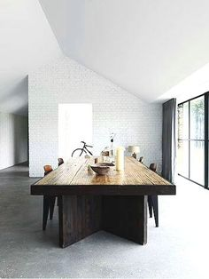 White brick wall in den Love the table too