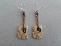 Guitar Earrings in Delica seed beads on Etsy, $20.00