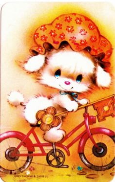 vintage SWAP CARDs 1970s Blank back Puppy dog riding a bike with 21st key