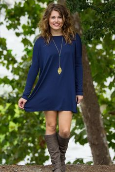 Long Sleeve Piko Tunic - Navy