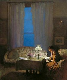 Twilight: Interior (Reading by Lamplight), Sir George Clausen, 1909, British