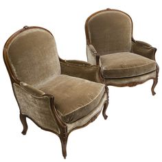 1stdibs - Pair Large 19thc French Louis XV Style Beech Bergeres explore items from 1,700  global dealers at 1stdibs.com - could live with crest but prefers to be curvilinear
