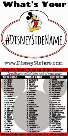 Disney names - What's Your Disney Side Name We've got the easy way to magically transform your name into your DISNEY SIDE name! Great activity for Disney Side Parties or any Disney related Party! (Free Print Out on Funny Name Generator, Jessy James, Fantasy Names, Funny Names, Funny Nicknames, Name Games, Fun Quizzes, What Is Your Name, Disney Quotes