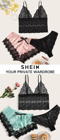Shop New Arrival Lingerie Cute Bras, Pretty Lingerie, Beautiful Lingerie, Bra Lingerie, Lingerie Sleepwear, My Unique Style, Bra And Panty Sets, Outfit Combinations, Dress With Bow
