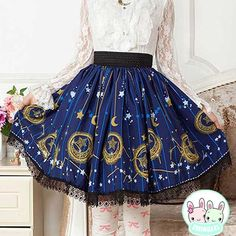 Japanese Blue Moon Stars Sweet Lolita Lace Short Pleated Skirt Gothic Punk Sk