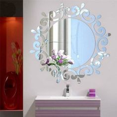 10Pc Removable Mirror Flower Wall Sticker Acrylic Mural Art Decal Set Decoration