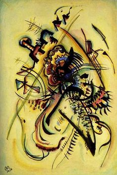 """Wassily Kandinsky """"To the Unknown Voice"""" 1916 year Watercolor and Indian ink on paper sm Paris, Musee National Art Moderne, Centre Georges Pompidou Expressionist Art, Abstract Words, Watercolor And Ink, Museum Of Modern Art, Wassily Kandinsky, Kandinsky Art, Art, Abstract, Contemporary Expressionism"""