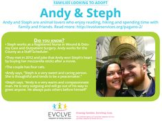We're pleased to introduce our latest family looking to adopt. Meet Steph & Andy, a nurse and county staff scheduler