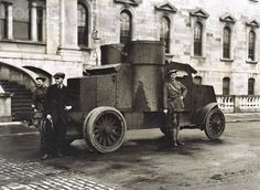 Taken in October 1920 outside the Mater Hospital. Auxiliary Police alongside an armoured car of the type used at the Custom House raid Ireland 1916, Dublin Ireland, Army Vehicles, Armored Vehicles, Ww1 Tanks, Michael Collins, Photo Engraving, Dublin City, History Photos