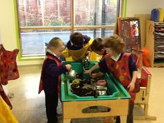 When the tiger came to tea we had real tea bags in the water tray with teapots, cups and spoons. Lots of pouring fun! Water Tray, Sand Tray, Sand And Water, Nursery Water, Reception Activities, Role Play Areas, Traditional Stories, Book Corners, Autumn Ideas