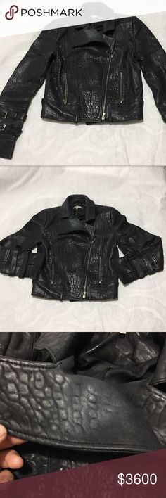 """CARVEN Design Lamb Leather Jacket * Belt missing* Pre-owned.***(BELT MISSING)*** **Please check the measurements ,some clothes are may not run true the size View measures by Our team .**  View picture  #3 does have a little discolored, For regular used it are AUTHENTIC Item,View zipper last pics. Gently  used But,Belt are missing, and   material tag missing too,sold as is.  SIZE :Women 36   . Shoulder (Back side):15.5""""  .Bust/Chest Under armpit (around):38""""  . Waist ( around):32""""  . Sleeve…"""