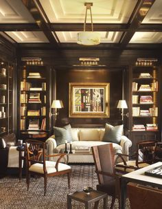 A handsome library with lacquered walls by David Kleinberg. 10 Interiors from 2016 Kips Bay Showhouse Designers.
