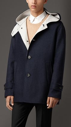 Burberry London Navy Double Cashmere Coat - An unlined coat in soft double cashmere with a contrast colour interior.  Cut for a relaxed fit, the duffle-inspired design features dropped shoulders and an oversize hood.  Discover the men's outerwear collection at Burberry.com