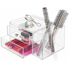 InterDesign Clarity Cosmetic Organizer for Vanity Cabinet to Hold Makeup, Beauty Products, 2 Drawer with Side Caddy, Clear -  - Clear Makeup Organizer, Makeup Drawer Organization, Acrylic Organizer, Makeup Storage, Room Organization, Dorm Storage, Bath Storage, Dental Cosmetics, Makeup Items