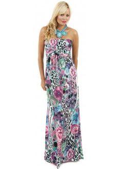 Blue Floral & Leopard Print Bandeau Maxi Dress