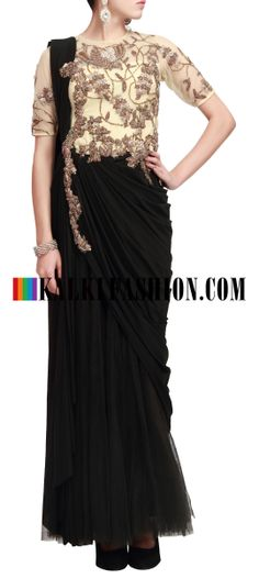 Buy Online from the link below. We ship worldwide (Free Shipping over US$100) http://www.kalkifashion.com/beige-and-black-pre-stitched-saree-gown-only-on-kalki.html Beige and black pre stitched saree gown only on Kalki