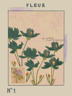 vintage fleur series no. 1 art print