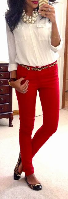 Red skinnies, leopard print accessories, & pearls.  Would even pair this with black skinnies. Or skinny cords.