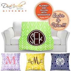 Enter to Win a Monogrammed Fleece Blanket and a Throw Pillow from DiaNoche on www.BrendasWeddingBlog.com