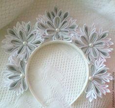 Купить Корона канзаши - белый, Новый Год, украшения ручной работы, корона, корона для принцессы