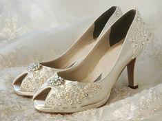 "Wedding Shoes - Vintage Wedding Lace Peep Toe 2 3/4"" Heels, Swarovski Crystals and Pearls Women's Bridal Shoes. $175.00, via Etsy."
