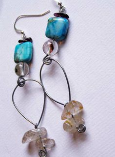 Agate and Quartz Earrings https://www.etsy.com/shop/Rosewire
