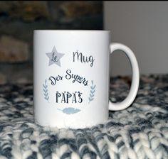 Le mug des supers papas Cadeau Fête des pères Noël Anniversaire personnalisable : Vaisselle, verres par crea-burgondia
