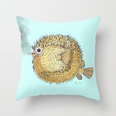 My original puffer fish illustration on a throw pillow.  Buy it now on Society6. Blow Throw Pillow by Amy Tom - $20.00
