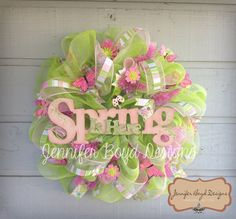 Spring Deco Mesh Wreath in Pink and Green, full of butterflies-Jennifer Boyd Designs