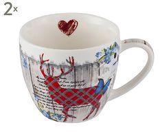 Kaffeebecher Winter Collage, 2 Stück, H 8 cm