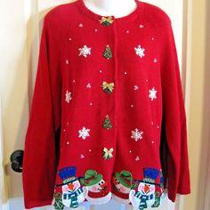 Not Ugly Xmas Sweater Cardigan Womens XL Red Snowman Tree Wreath Snowflake Tiara #TiaraInternational #Cardigan #Christmas