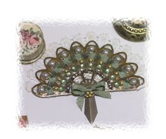 Ladys  fine fan with many rhinestones and lace OOAK by Scarletts45, €22.00