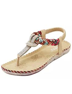 d2c68207053e Summer 2018 Women s Sandals Braided Strap Bohemia Beaded Flat Shoes