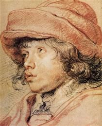 Peter Paul Rubens, Nicolaas Rubens Wearing a Red Felt Cap, ca. Red, black and white chalk. Peter Paul Rubens' drawing of his son Nicolaas Peter Paul Rubens, Trois Crayons, Crayon Drawings, Art Drawings, Rembrandt, Life Drawing, Painting & Drawing, Albertina Wien, Baroque Art