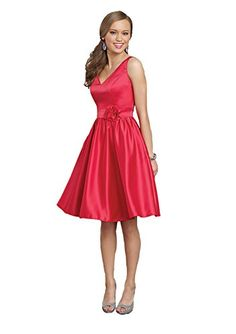 Mori Lee 894 V-Neck Short Satin Formal Dress, Strawberry, 14