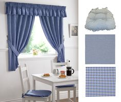 Gingham Kitchen Curtains Set - Blue, Oxford Frilled Seat Pad - Blue, Medium and Mini Vichy Gingham Fabric - Gauloise Blue