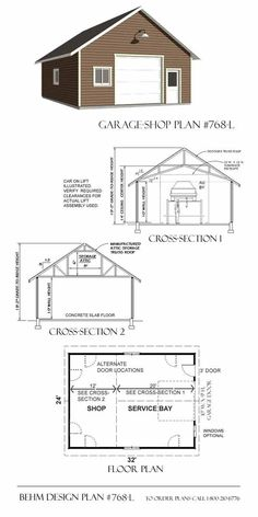 Two car garage with shop and attic truss roof plan 1200 4r for Garage plans with lift