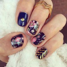 Done! New nails always make me smile:) #Jamberry #DidThemAtHome #nodrytime #nochipping #twoweekmani #yesplease #BrushedFloralJN #GoldChevronJN #BetaJN #DesignDimensionsJN #thinksocial