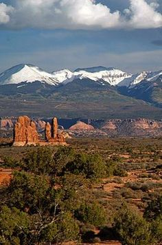 La Sal Mountains as seen from Arches National Park, Manti-La Sal National Forest, Utah