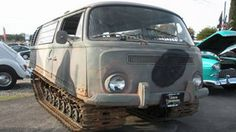 This is a combination of a 1945 Studebaker Weasel Tank and a bay window  Volkswagen bus. Currently for sale at a car  dealer in California.