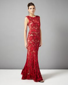 Phase Eight - Paige Tapework Full Length Dress, £199.00 was £325.00 (Ruby) (Front) (a)