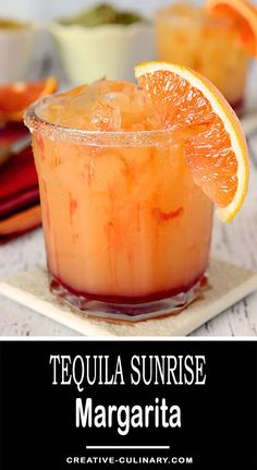 Not just delicious with the flavors of OJ and Grenadine, this Tequila Sunrise Margarita is absolutely beautiful too! via @creativculinary