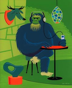 Shag print. I love the green and orange. And the gorilla with headphones.