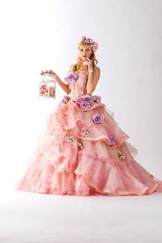 Pink gown and ruffles!