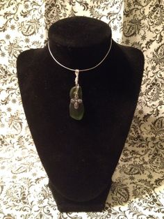 Dark green sea glass necklace with cross by NotForgottenGlass, $22.00