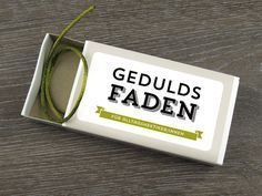 Geduldsfaden in grün, Geschenkidee // gift idea: patience in a box by Design Verlag via DaWanda.com // 4,90€