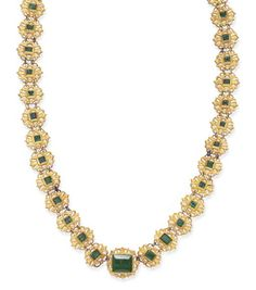 A SPANISH COLONIAL EMERALD AND GOLD NECKLACE   Composed of a series of graduated sculpted gold links, of openwork foliate design, each centering upon a rectangular-cut emerald, the central emerald weighing approximately 19.61 carats, 17th century, 27 ins.