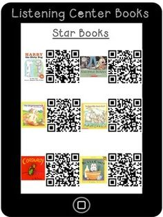 Here are 3 pages of different listening center QR codes. Kindergarten Listening Center, Listening Station, Teaching Reading, Listening Centers, Preschool Library Center, Kindergarten Class, Reading Centers, Reading Workshop, First Grade Reading