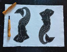 Skateboards, Lino prints, wood cuts and cross stitch by TheLongVacationArt Lino Cuts, Lino Prints, Skateboards, Traditional Tattoo, Handmade Art, Illustrators, Cross Stitch, Etsy Seller, Mermaid